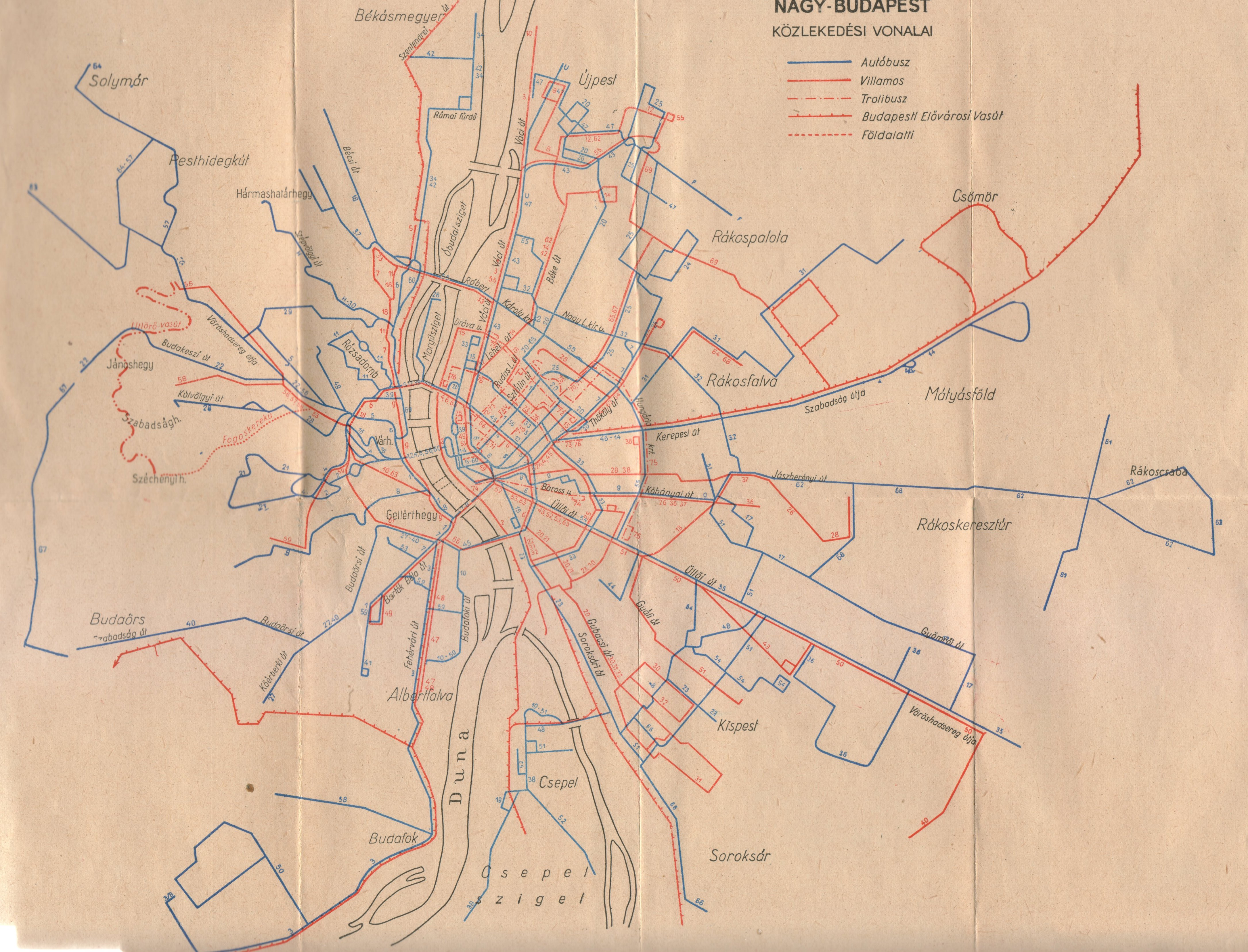 nagy budapest térkép Villamosok.Hu   Nagy Budapest közlekedési vonalai 1956. nagy budapest térkép