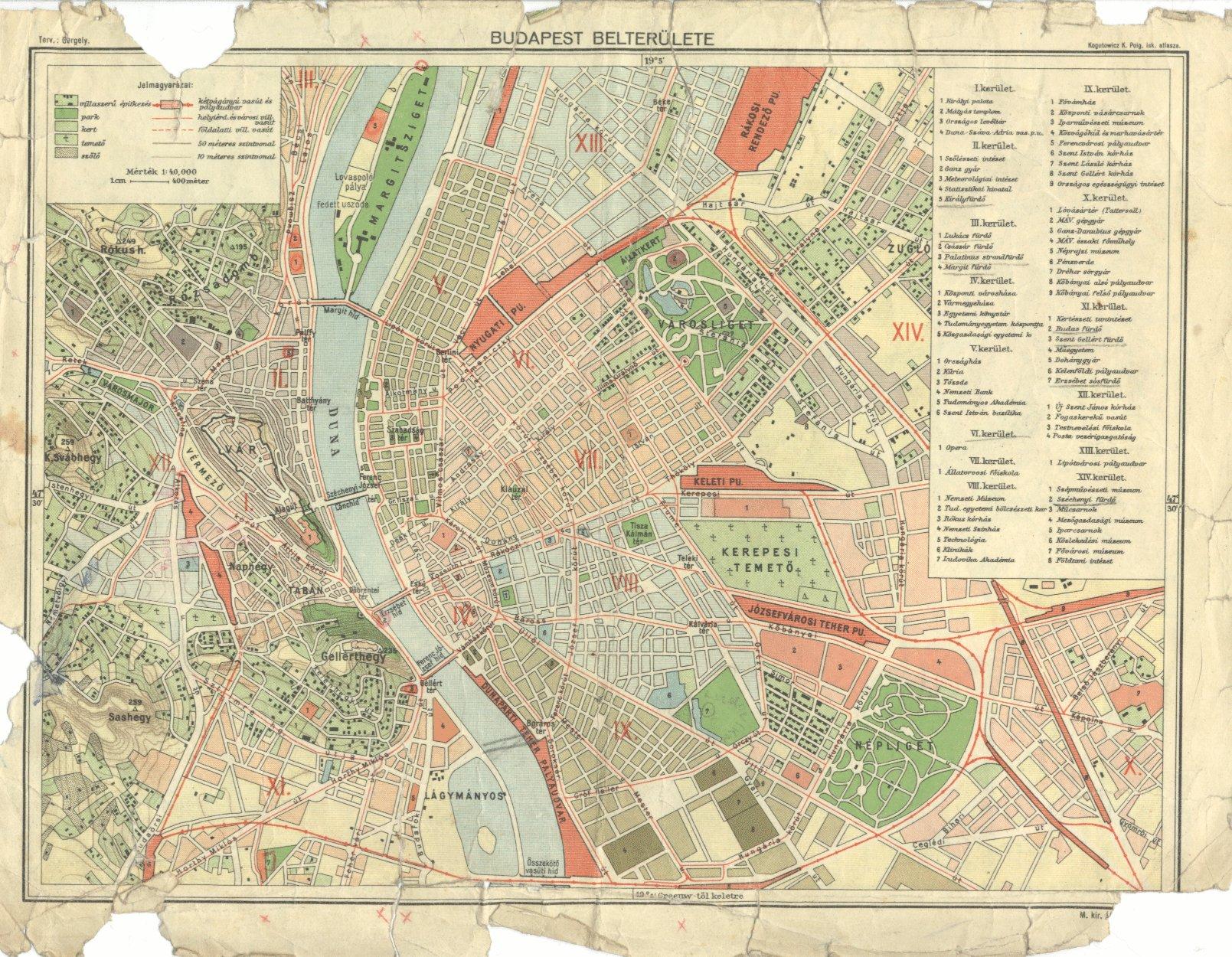 budapest térkép 1930 Budapest belterülete 1930. budapest térkép 1930