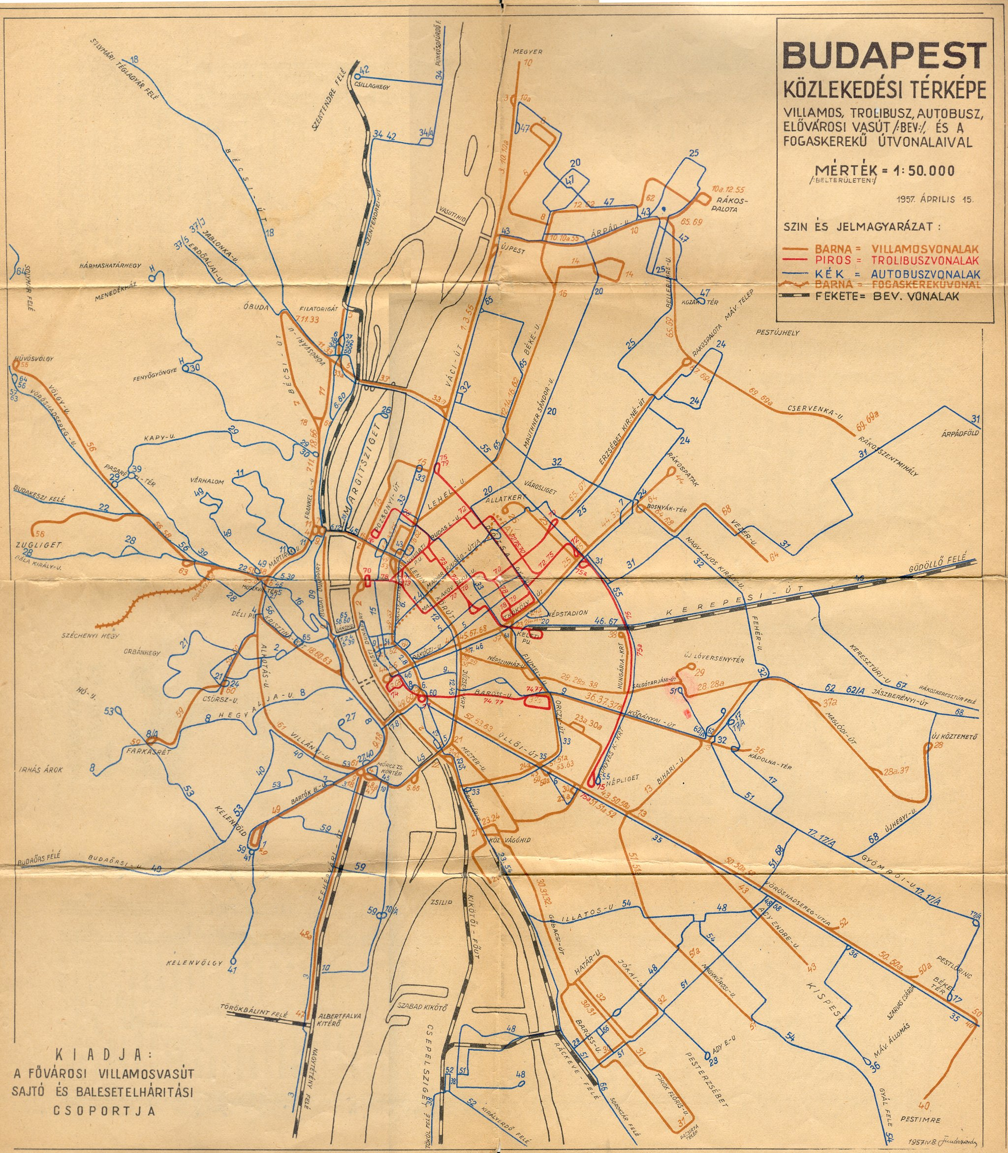 villamos térkép budapest Villamos.Budapest.Hu   Budapest Közlekedési Térképe 1957. villamos térkép budapest