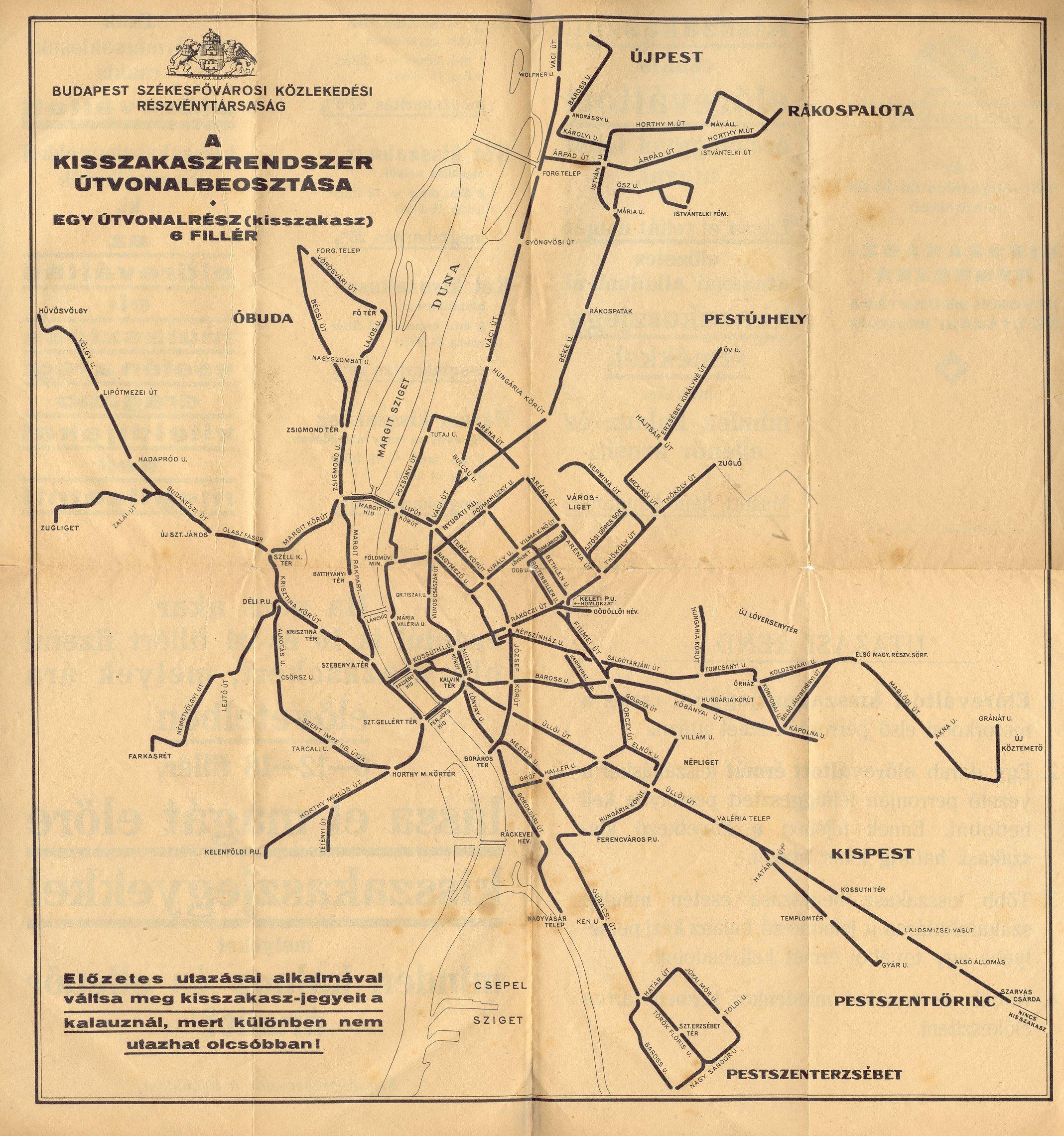 budapest térkép 1956 Villamos.Budapest.Hu   Kissszakasz BSzKRt. 1933. budapest térkép 1956